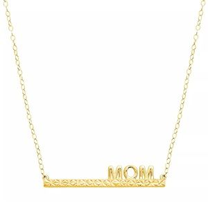 Jewelry - Solid 10K Yellow Gold Mom Bar Necklace